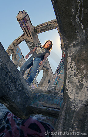 Teen Girl in Urban Ruins