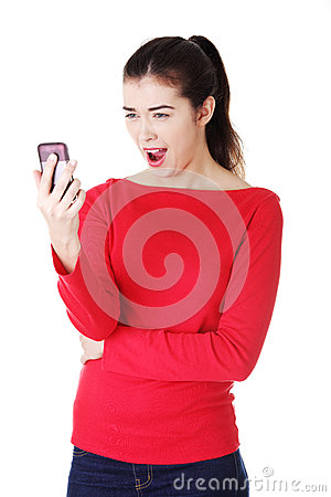 Teen girl using cell phone