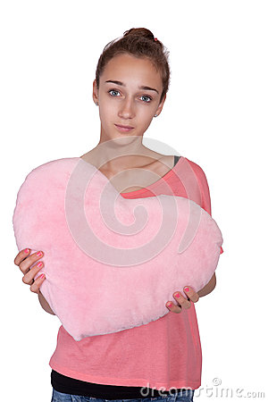 Teen girl with valentine pink heart