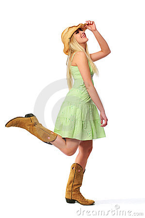 Free Teen Girl Wearing Hat And Boots Royalty Free Stock Images - 5270159