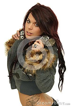 Teen girl wearing winter coat
