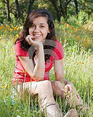Teen girl with wildflowers