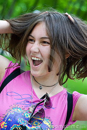 Free Teen Girl With Hands In Her Hair Stock Photos - 14295583