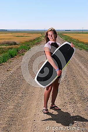 Free Teen Girl With Wake Board Stock Photography - 2969442