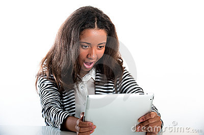 Teen girl, working with a portable tablet computer