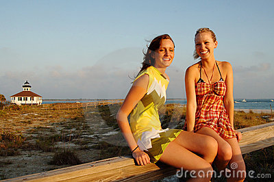 Teen girls at beach