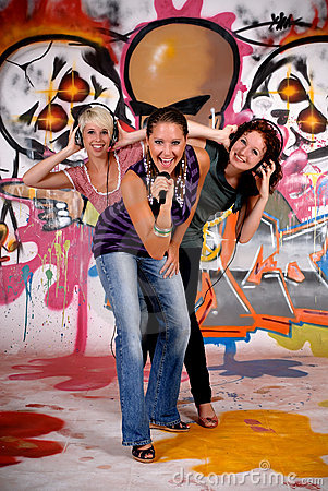 Teen girls graffiti wall