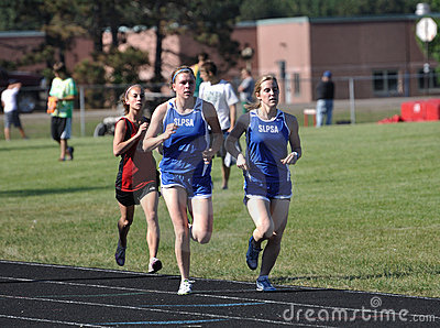 Teen Girls in Long Distance Track Race Editorial Image