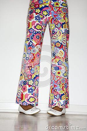 Teen girls pants and feet.