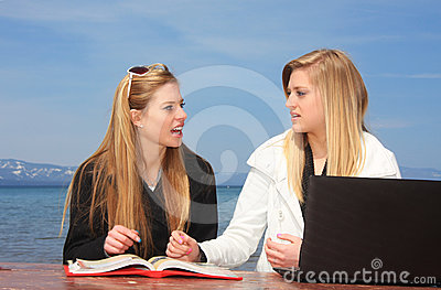 Teen Girls Studying