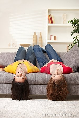 Free Teen Girls Upside Down Royalty Free Stock Images - 13005389