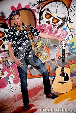 Teen guitar graffiti wall