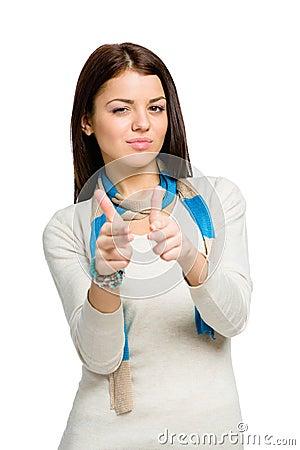 Teen hand guns gesturing