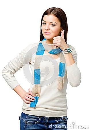 Teen hand phone gesturing