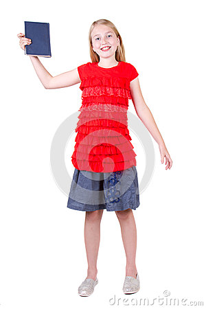 Teen holding book