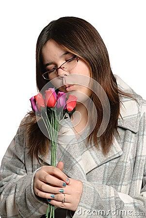 Teen Holding Roses