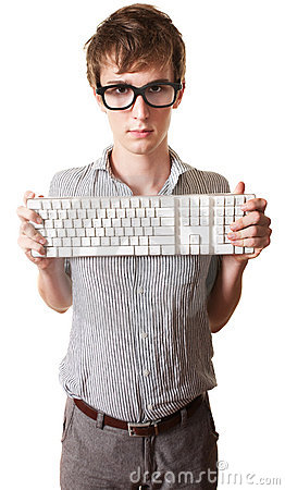 Teen Holds Computer Keyboard