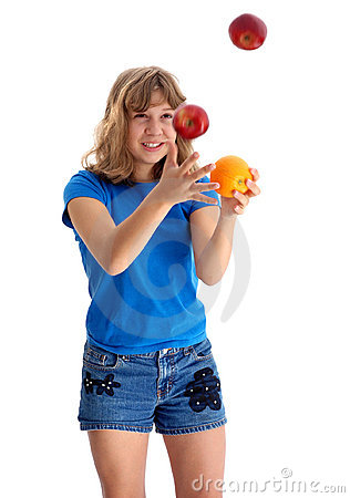 Teen Juggling Apple and Orange 2