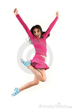 Teen jumping high