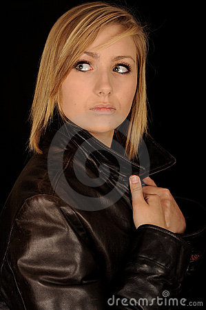 Teen in leather jacket