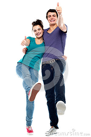 Teen love couple enjoying themselves