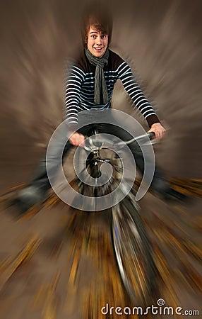 Teen on mountain bike