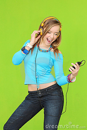 Free Teen Music Headphones Stock Images - 13191664