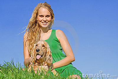 Teen with pet dog