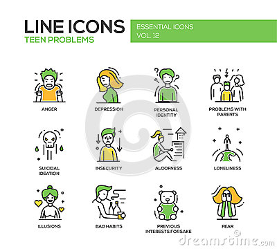 Free Teen Problems- Line Design Icons Set Royalty Free Stock Images - 72074159