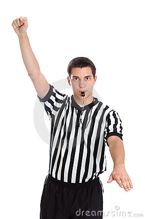 Teen referee with foul sign