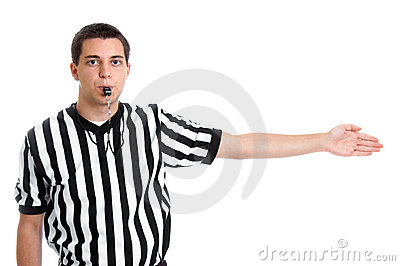 Teen referee giving possession sign