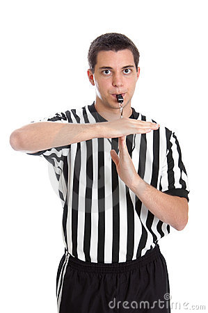 Teen referee giving sign for technical foul