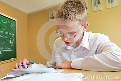 Male Pupil Studying