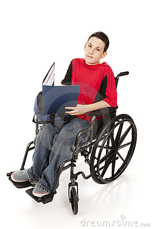 Teen Schoolboy in Wheelchair