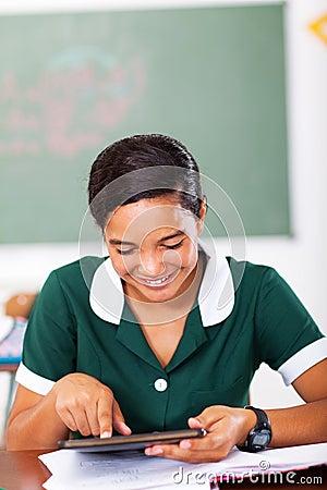 Teen schoolgirl tablet