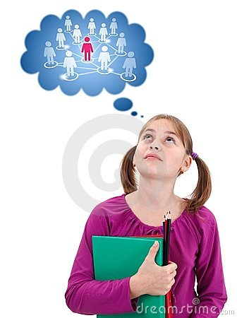 Teen schoolgirl thinking about social network