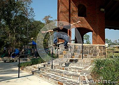 Teen Skater Stairs