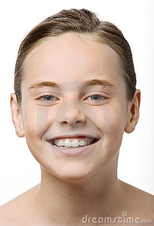 A teen smiling