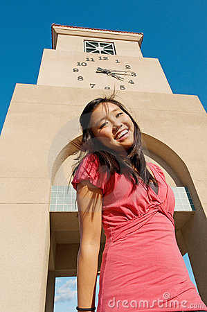 Teen Student Girl At High School Campus Clock Towe