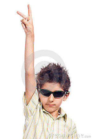 Teen with sun glasses hand up