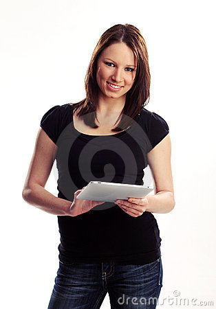 Teen with tablet pc