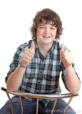 Teen thumbs up