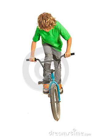 Teen trying a stunt on bike