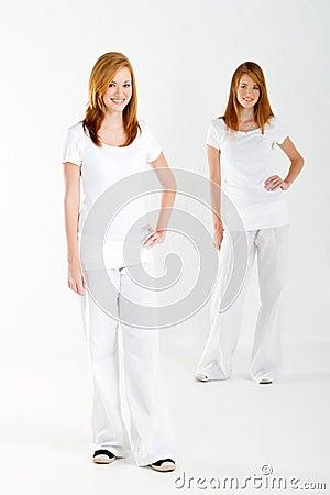 Teen twin sisters