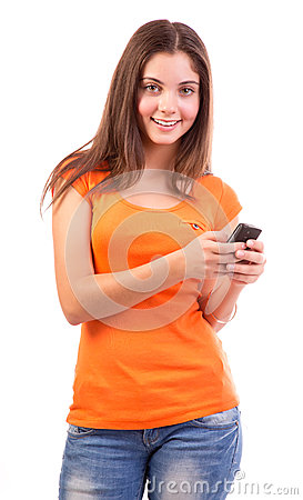Teen using a cell phone
