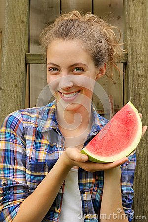 Teen and a watermelon