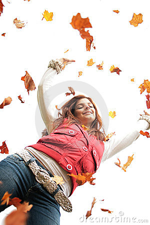 Free Teen With Falling Leaves Royalty Free Stock Image - 3335406