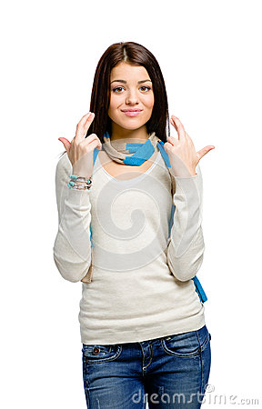 Free Teen With Fingers Crossed Stock Images - 33585224