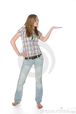 Free Teen With Palm Up For Product Placement Royalty Free Stock Images - 5685879