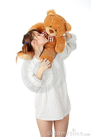 Free Teen With Teddy Bear Stock Photography - 11892732